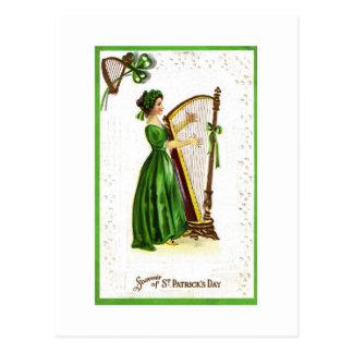 Woman Playing Harp Postcard