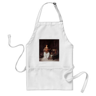 Woman Playing Lute music Instrument Medieval Adult Apron