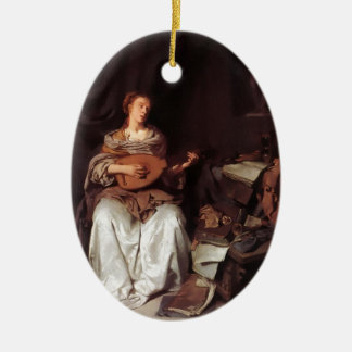 Woman Playing Lute music Instrument Medieval Ceramic Ornament