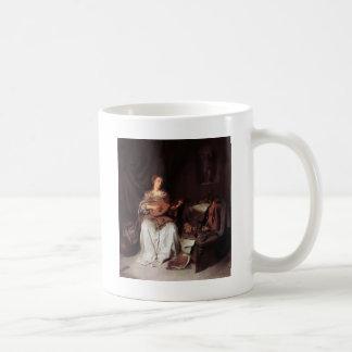 Woman Playing Lute music Instrument Medieval Coffee Mug