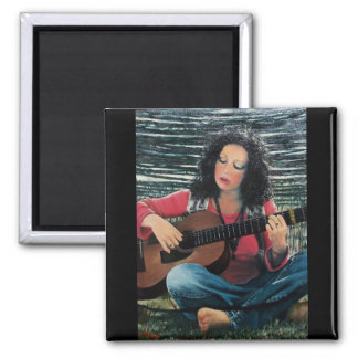 Woman Playing Music With Acoustic Guitar 2 Inch Square Magnet