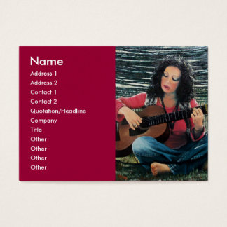 Woman Playing Music With Acoustic Guitar Business Card