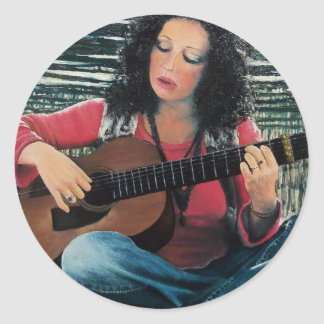 Woman Playing Music With Acoustic Guitar Classic Round Sticker
