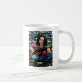 Woman Playing Music With Acoustic Guitar Coffee Mug
