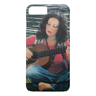Woman Playing Music With Acoustic Guitar iPhone 7 Plus Case