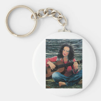 Woman Playing Music With Acoustic Guitar Basic Round Button Keychain