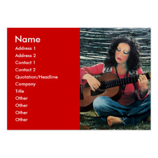 Woman Playing Music With Acoustic Guitar Large Business Card