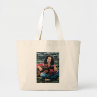 Woman Playing Music With Acoustic Guitar Large Tote Bag