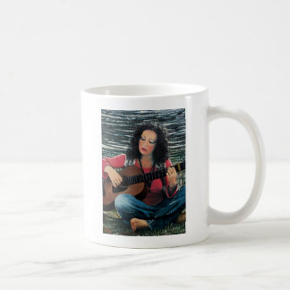 Woman Playing Music With Acoustic Guitar Classic White Coffee Mug