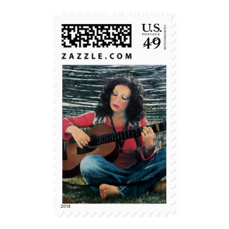 Woman Playing Music With Acoustic Guitar Postage