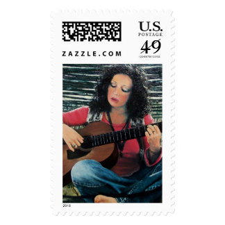 Woman Playing Music With Acoustic Guitar Postage Stamp