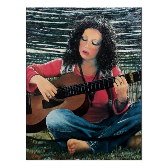 Woman Playing Music With Acoustic Guitar Postcard