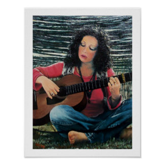 Woman Playing Music With Acoustic Guitar Poster