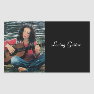Woman Playing Music With Acoustic Guitar Rectangular Sticker