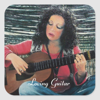 Woman Playing Music With Acoustic Guitar Square Sticker