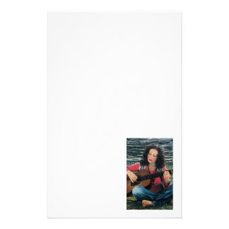 Woman Playing Music With Acoustic Guitar Stationery