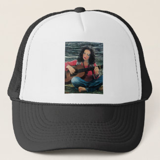 Woman Playing Music With Acoustic Guitar Trucker Hat