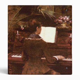 Woman Playing Piano 3 Ring Binder