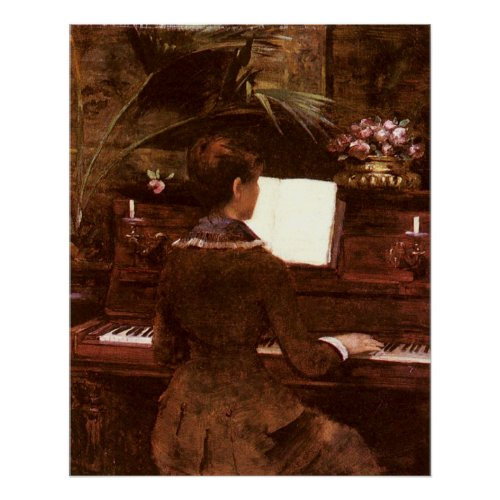Woman Playing Piano Poster