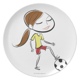 Woman playing soccer dinner plate