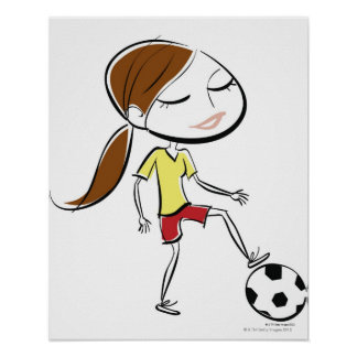 Woman playing soccer poster