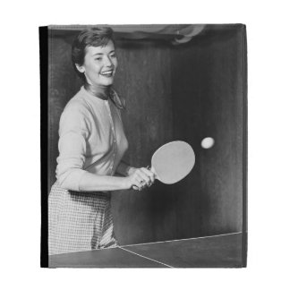 Woman Playing Table Tennis iPad Cases
