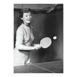 Woman Playing Table Tennis Invites