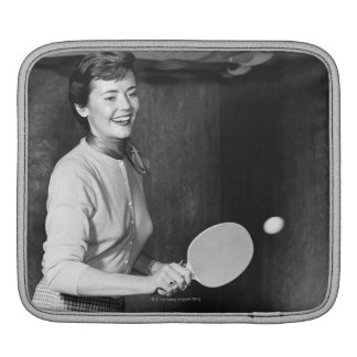 Woman Playing Table Tennis iPad Sleeve