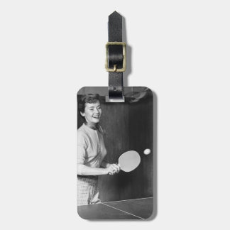 Woman Playing Table Tennis Luggage Tag