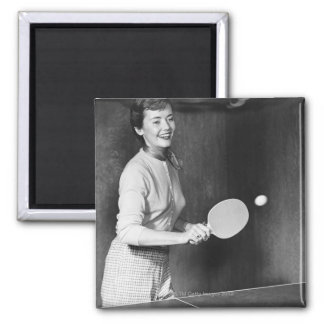 Woman Playing Table Tennis Magnet