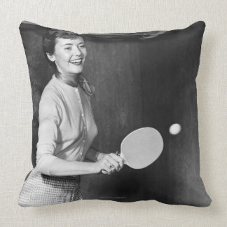 Woman Playing Table Tennis Pillows