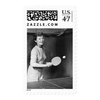 Woman Playing Table Tennis Postage Stamp