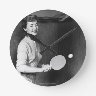Woman Playing Table Tennis Round Clock