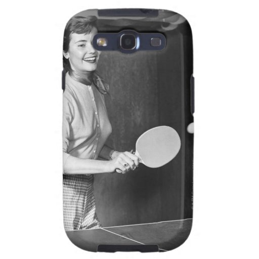 Woman Playing Table Tennis Samsung Galaxy S3 Cases
