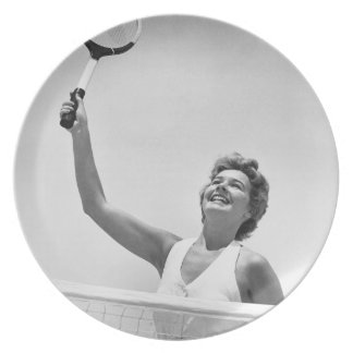 Woman Playing Tennis 2 Dinner Plate