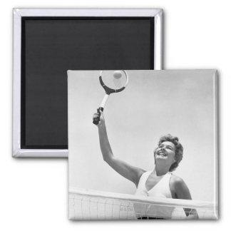 Woman Playing Tennis 2 Fridge Magnet