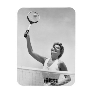 Woman Playing Tennis 2 Rectangle Magnets
