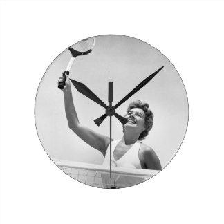 Woman Playing Tennis 2 Round Clock