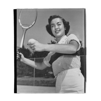 Woman Playing Tennis 3 iPad Folio Cases