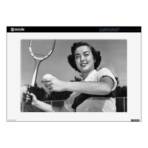 """Woman Playing Tennis 3 Decal For 15"""" Laptop"""