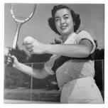 Woman Playing Tennis 3 Large Square Tile