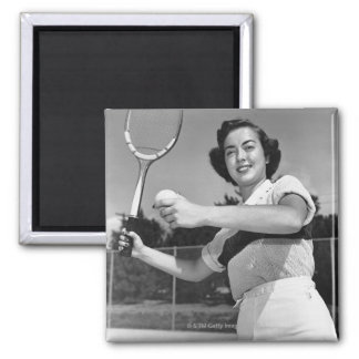Woman Playing Tennis 3 Refrigerator Magnet