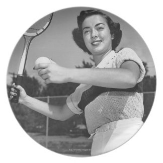 Woman Playing Tennis 3 Plate