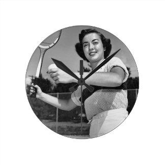 Woman Playing Tennis 3 Round Clock