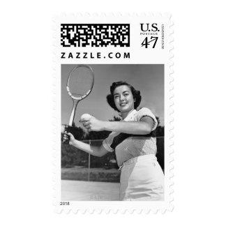Woman Playing Tennis 3 Stamp
