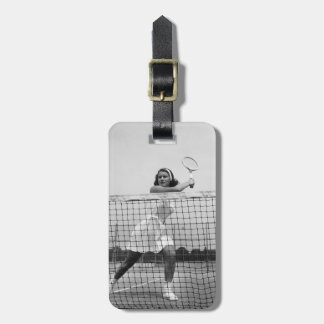 Woman Playing Tennis Tag For Luggage