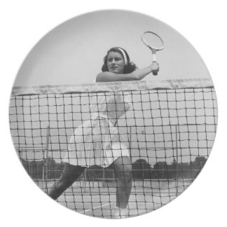 Woman Playing Tennis Plate