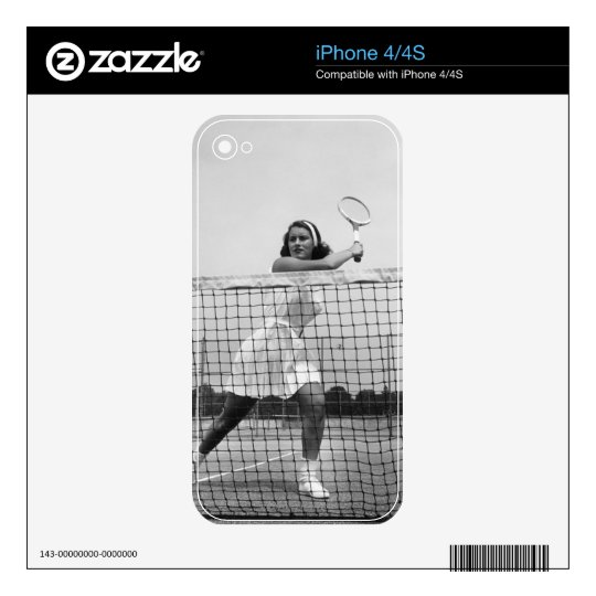 Woman Playing Tennis Skins For The iPhone 4