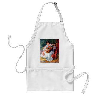 Woman Playing The Guitar by Pierre Renoir Adult Apron
