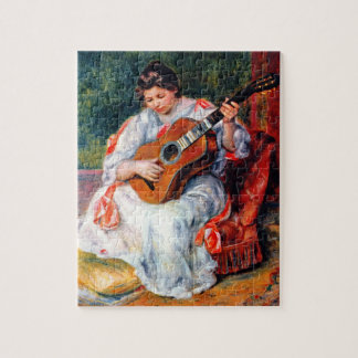 Woman Playing The Guitar by Pierre Renoir Jigsaw Puzzle